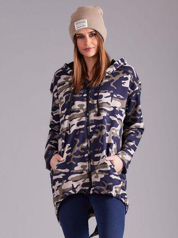 Granatowa asymetryczna bluza w stylu militarnym