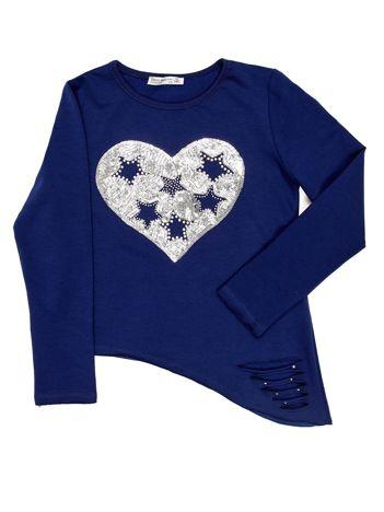 Granatowa asymetryczna bluzka dziewczęca z cekinowym sercem