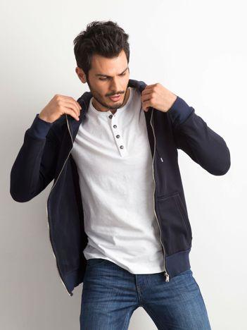 Granatowa bawełniana bluza męska z kapturem