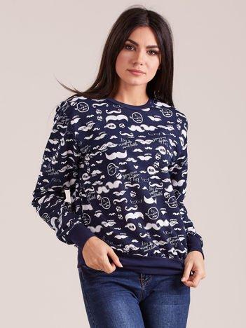 Granatowa bawełniana bluza z nadrukiem