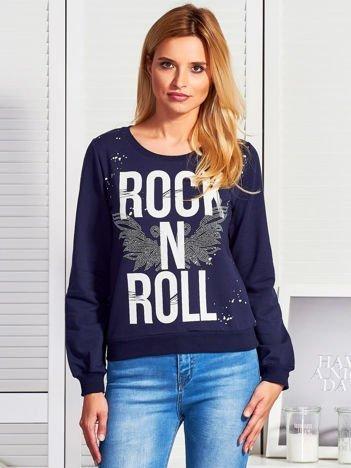 Granatowa bluza ROCK N ROLL
