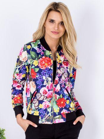 Granatowa bluza bomberka w kolorowe kwiaty