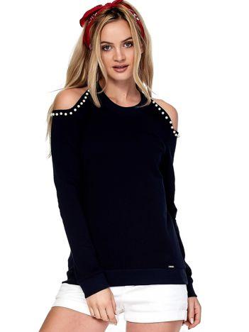 Granatowa bluza cold arms z perełkami