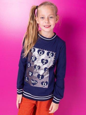 Granatowa bluza dla dziewczynki z nadrukiem i perełkami