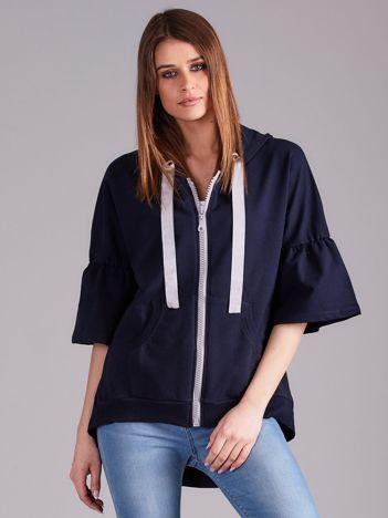 Granatowa bluza dresowa z szerokimi rękawami