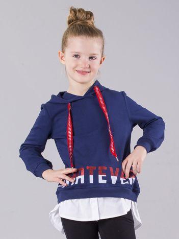 Granatowa bluza dziewczęca z kapturem i koszulą
