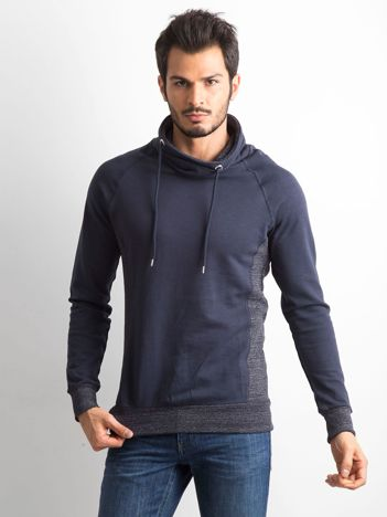 Granatowa bluza męska z kominowym kołnierzem