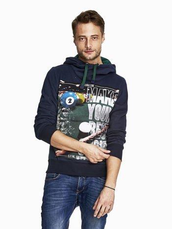 Granatowa bluza męska z napisem MAKE YOUR BEST SHOUT