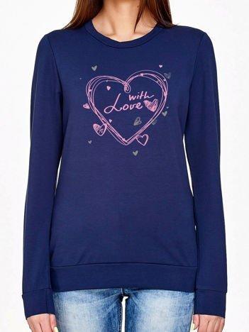Granatowa bluza z napisem WITH LOVE