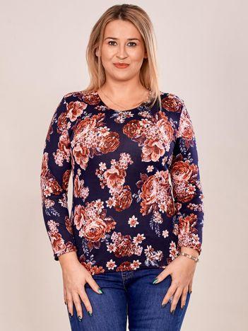 Granatowa bluzka damska w kolorowe kwiaty PLUS SIZE