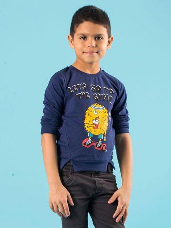 Granatowa bluzka dla chłopca z bawełny