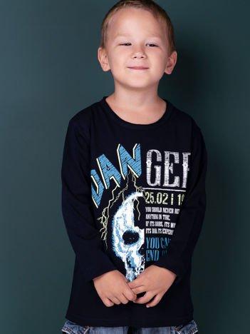 Granatowa bluzka dla chłopca z nadrukiem