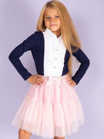 Granatowa bluzka dla dziewczynki z koszulową wstawką