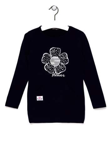 Granatowa bluzka dla dziewczynki z kwiatkiem