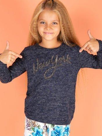 Granatowa bluzka dla dziewczynki z napisem