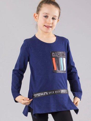Granatowa bluzka dziewczęca z aplikacjami