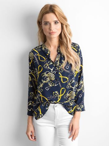 Granatowa bluzka koszulowa we wzory