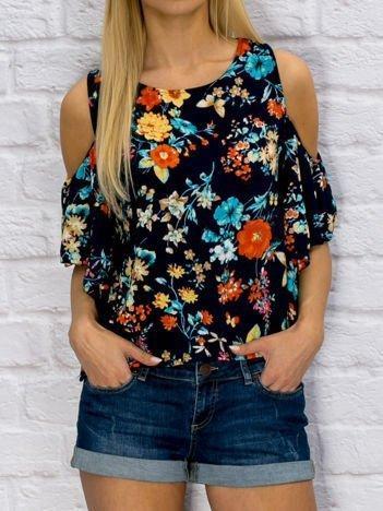Granatowa bluzka w kolorowe kwiaty