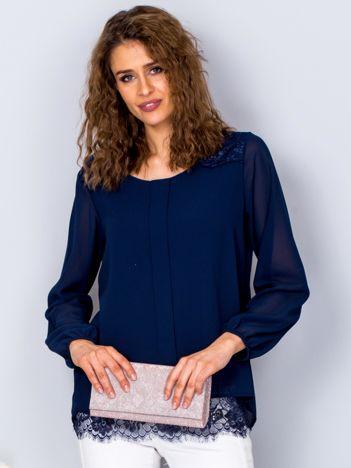 Granatowa bluzka z koronkowymi wstawkami
