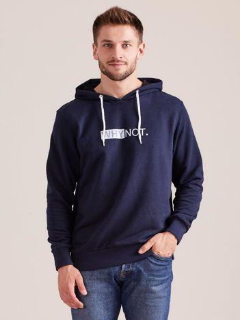 Granatowa dresowa bluza dla mężczyzny z kapturem