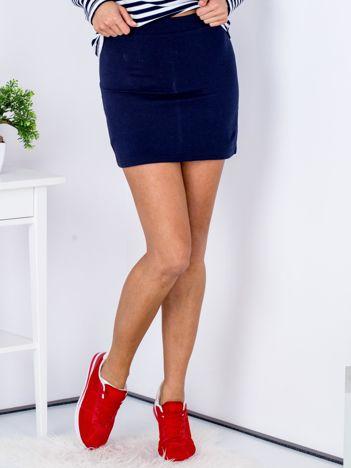 Granatowa dresowa spódnica mini