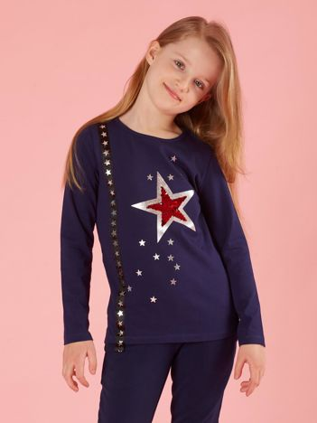 Granatowa dziecięca bluzka z aplikacją