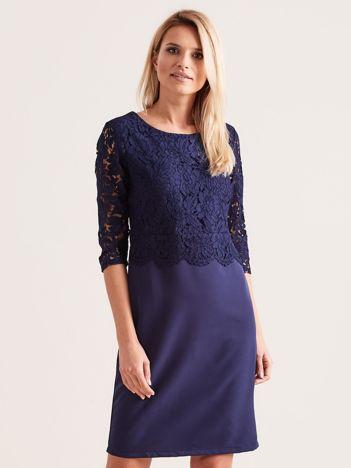 40f68cc0d4 Granatowa elegancka sukienka z koronką