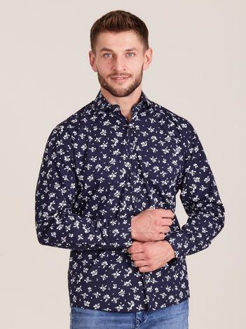 Granatowa koszula męska w roślinne wzory