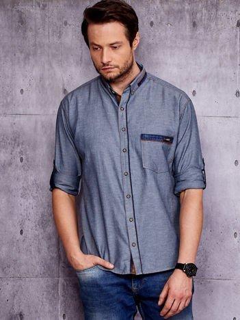 Granatowa koszula męska z kieszenią