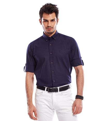 Granatowa koszula męska z podwijanymi rękawami