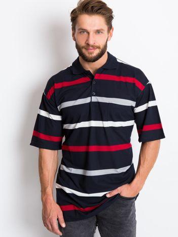 Granatowa koszulka polo męska plus size Wind