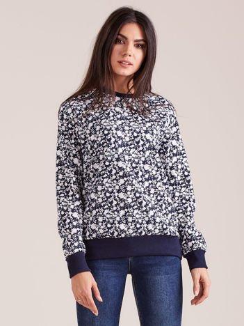Granatowa kwiatowa bluza