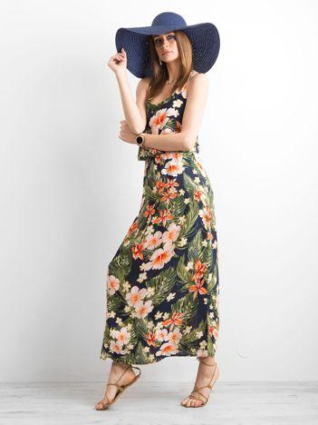 Granatowa letnia sukienka w kwiaty