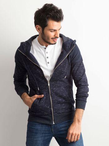 Granatowa melanżowa bawełniana bluza męska z kapturem