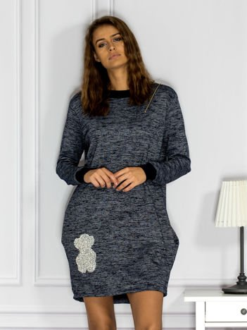 Granatowa melanżowa sukienka z błyszczącą aplikacją i suwakiem