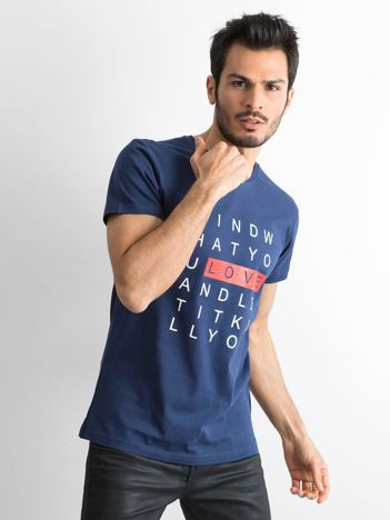 Granatowa męska koszulka z nadrukiem