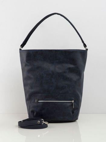 Granatowa miękka torba z ekoskóry