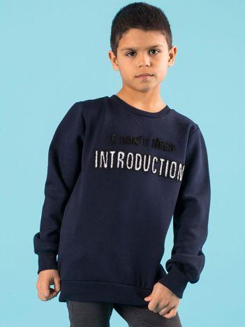 Granatowa ocieplana bluza dziecięca z napisem