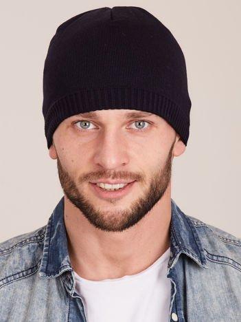 Granatowa ocieplana męska czapka