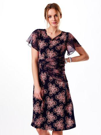 Granatowa ornamentowa sukienka ze zwiewnymi rękawami