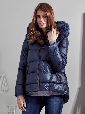 Granatowa pikowana kurtka z zamszowymi wstawkami