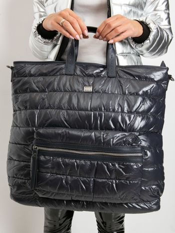 Granatowa pikowana torba