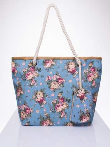 Granatowa plażowa torba w kwiaty na sznurku