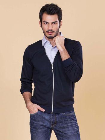 Granatowa rozpinana bluza męska z koszulą