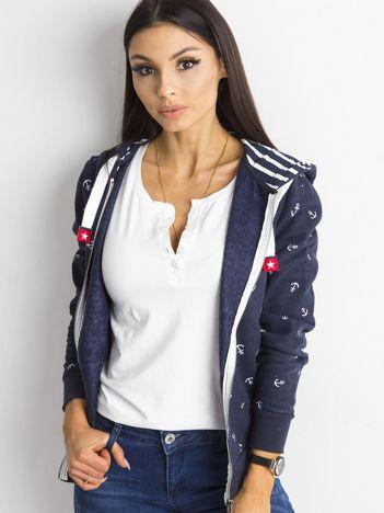 Granatowa rozpinana bluza z nadrukiem