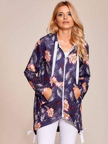 Granatowa rozpinana bluza z tropikalnym nadrukiem i kapturem