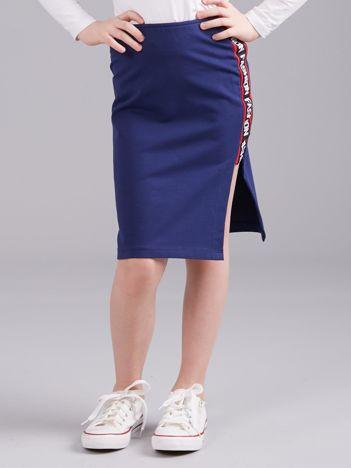 Granatowa spódnica z z bocznym napisem dla dziewczynki