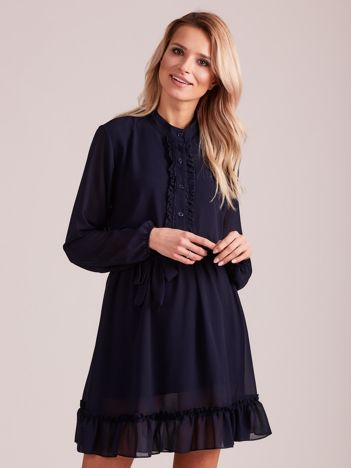 Granatowa sukienka damska z falbankami