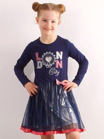 Granatowa sukienka dla dziewczynki z aplikacją