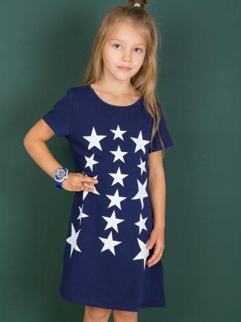 Granatowa sukienka dla dziewczynki z gwiazdkami